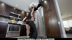 Tiny ebony teen and her blonde BFF romped by a huge guy