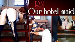 Guest gropes hotel maid's cunt. The guy wants to ravage the maid.
