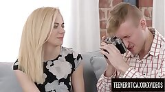 Virginal Photo Shoot Finishes with Cum Dripping out of Teen Alina Blondes Pussy