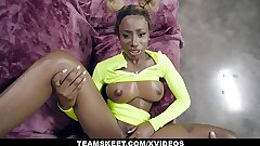 TeamSkeet - Busty Black Teen Inhales A Thick White Prick