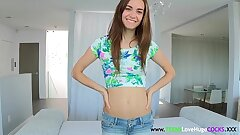 Skinny sizequeen teen getting covered in cum