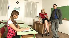 Charming Instructor Cathy Campbell calls the principal to discipline schoolgirl and they have a steamy three way