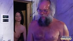 Teen Sensual Cock Massage and Pussy fuck with big dick grandpa molten
