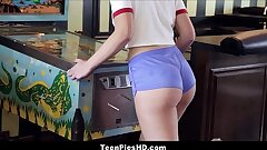 Hot Nubile Girl With A Big Ass Scarlett Mae Internal ejaculation From Stranger On Pinball Machine