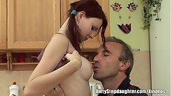 Hottie Rigid Titted Teen Kitchen Sex With Stepdad