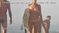 Teen exhibitionist girlfriend surfs bare at the beach!