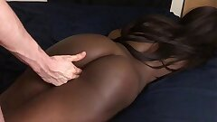 Dark-hued Teen Gets Massage And Fingered In Puss